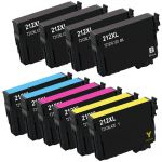 High Yield Epson 212 Combo Pack of 10 Ink Cartridges XL: 4 Black, 2 Cyan, 2 Magenta, 2 Yellow