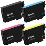 High Yield Epson 200XL Combo Pack of 4 Ink Cartridges: 1 Black, 1 Cyan, 1 Magenta, and 1 Yellow