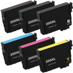 High Yield Epson 6-Pack T200XL Ink Cartridges: 3 Black, 1 Cyan, 1 Magenta, and 1 Yellow