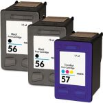 HP 56 57 Combo Pack of 3 Ink Cartridges: 2 x 56 Black, 1 x 57 Tri-color