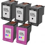 High Yield HP 63XL Combo Ink Pack of 5 Cartridges: 3 Black, 1 Tri-color