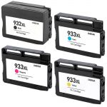 HP 932XL & 933XL Black & Color 4-pack High Yield Ink Cartridges
