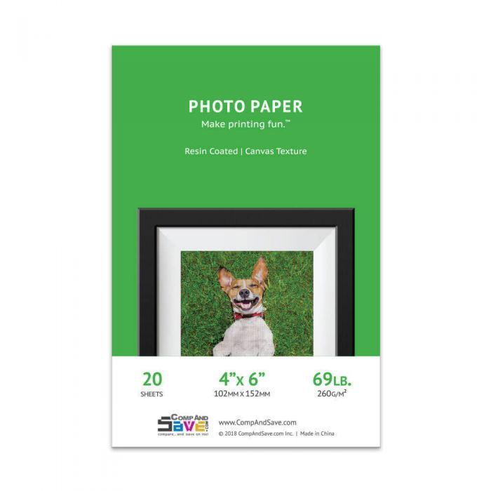 4x6 Premium Canvas Textured Inkjet Photo Paper - 20 sheets - Resin Coated
