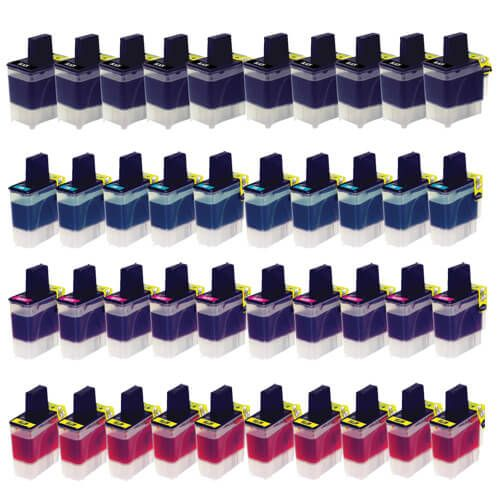 Compatible Brother LC-41 Printer Ink Cartridges 40-Pack: 10 Black, 10 Cyan, 10 Magenta, 10 Yellow