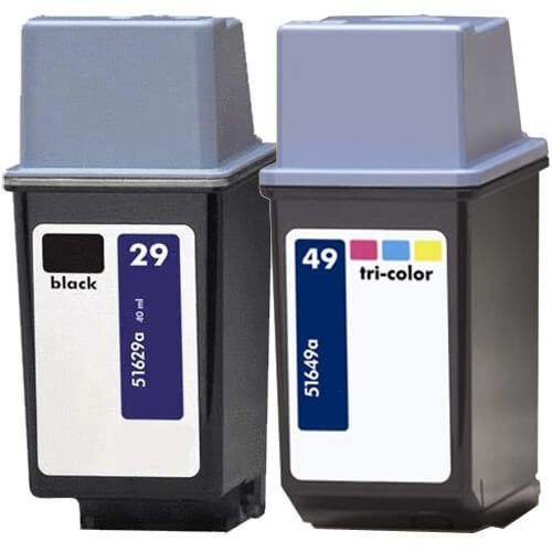 Replacement Ink Cartridges HP 29 & HP 49 Tri-Color Combo 2 - 51629A Black & 51649A Tricolor