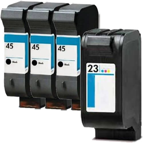 Replacement HP 45 23 Ink Cartridges Combo Pack of 4 - 3 x 45 Black, 1 x 23 Tricolor
