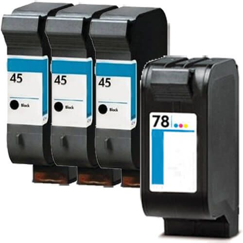 Replacement HP 45 78 Ink Cartridges Combo Pack of 4 - 3 x 45 Black, 1 x 78 Tricolor