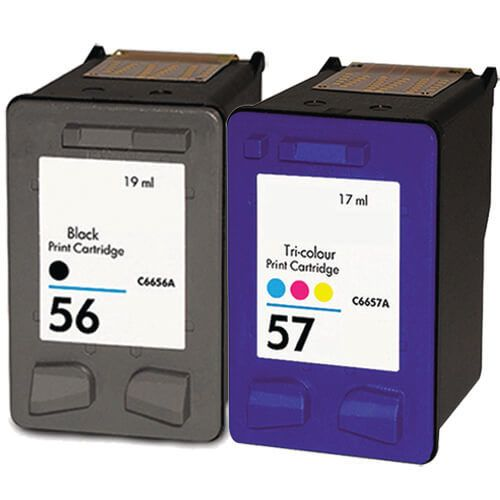 Hewlett Packard (HP) C6656AN Black & C6657AN Tri Color (HP 56 HP 57 Combo Pack of 2) Replacement Ink Cartridge