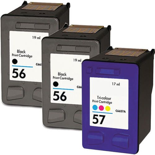 Hewlett Packard (HP) C6656AN Black & C6657AN Tri Color (HP 56 HP 57 Combo Pack of 3) Replacement Ink Cartridge