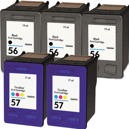 Replacement HP 56 57 Ink Cartridges Combo Pack of 5 - 3x Black + 2x Tricolor