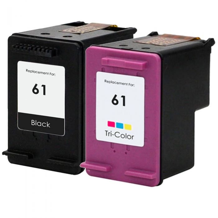 Replacement HP 61 Combo Pack of 2 Ink Cartridges: 1 Black, 1 Color