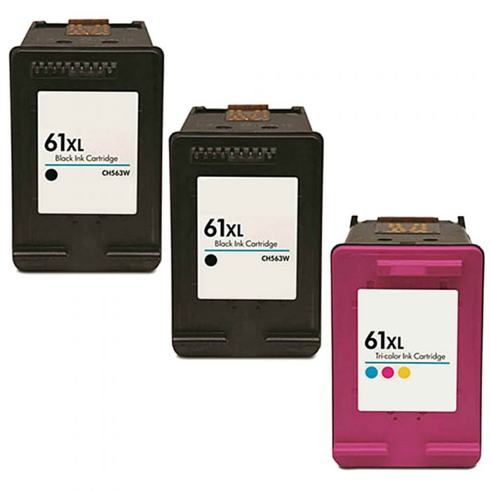 Replacement HP Ink 61 Black and Color XL Cartridges Combo 3 - High Yield: 2 Black, 1 Color