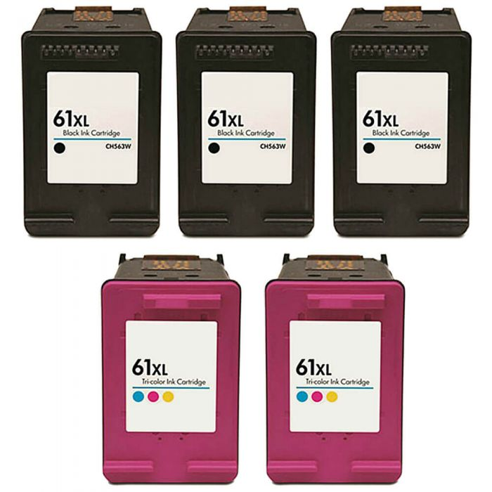 Replacement HP 61XL Ink Combo Pack of 5 Cartridges - High Yield: 3 Black, 2 Color