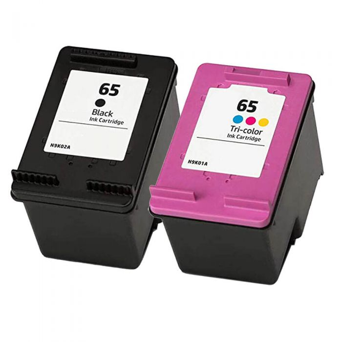 Replacement HP 65 Ink Cartridges Combo Pack of 2 - 1 Black, 1 Tri-color
