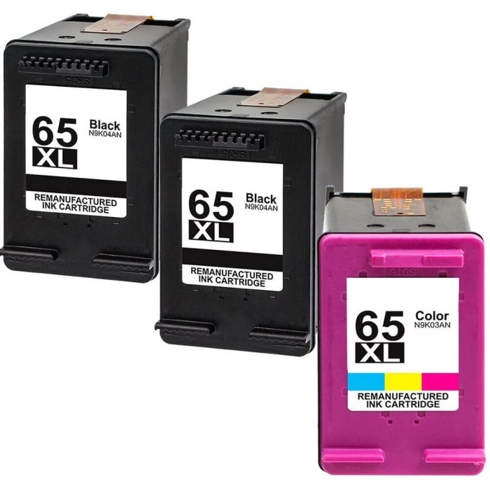 Replacement HP 65 Ink XL Combo Pack 3 Cartridges - High Yield: 2 x N9K04AN Black, 1 x N9K03AN Color