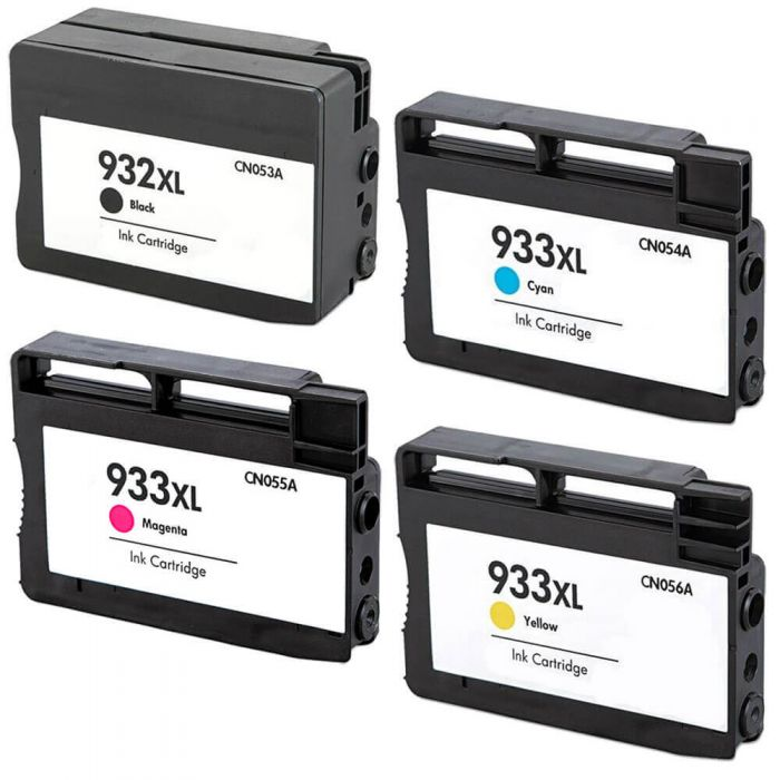 Replacement HP 932XL 933XL Combo Pack of 4 Ink Cartridges - High Yield - 1x Black + 1x Cyan + 1x Magenta + 1x Yellow