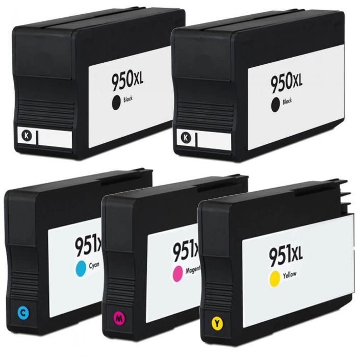 Replacement HP 950XL Combo & HP 951XL Combo Pack of 5 Ink Cartridges - High Yield - 2x Black + 1x Cyan + 1x Magenta + 1x Yellow