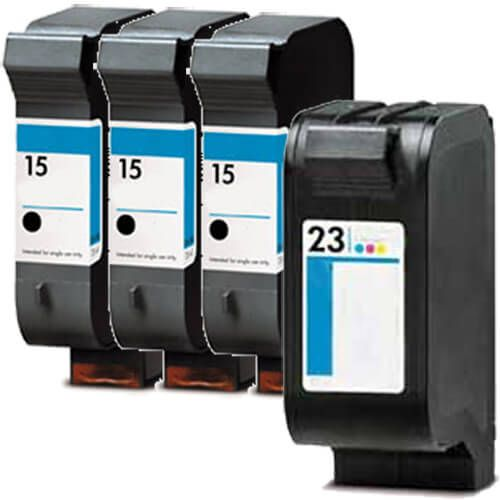Replacement HP 15 23 Ink Cartridges Combo Pack 4 - 3 x 15 Black, 1 x 23 Tricolor