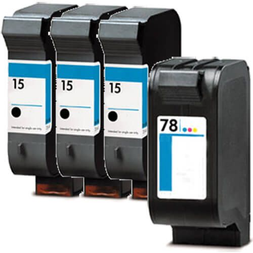 Replacement HP 15 and 78 Ink Cartridges Combo Pack of 4 - 3 x 15 Black, 1 x 78 Tricolor