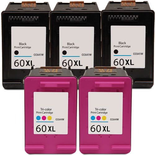 Hewlett Packard (HP 60XL Combo-Pack of 5) CC641WN Black & CC644WN Tri-Color (High Yield) Replacement Ink Cartridge