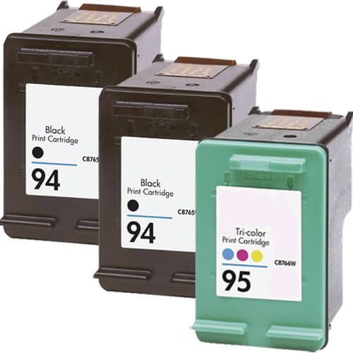 Hewlett Packard (HP) C8765WN Black & C8766WN Tri Color (HP 94 HP 95 Combo Pack of 3) Replacement Ink Cartridge