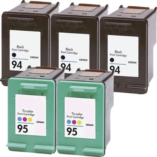 Hewlett Packard (HP) C8765WN Black & C8766WN Tri Color (HP 94 HP 95 Combo Pack of 5) Replacement Ink Cartridge