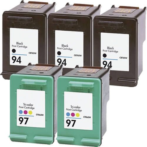 Hewlett Packard HP 94 (C8765WN) 3-PK Black & HP 97 (C9363WN) 2-PK Tri Color (Combo Pack of 5) Replacement Ink Cartridge