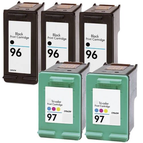 Replacement HP 96 97 Ink Cartridges Combo Pack of 5 - 3x Black + 2x Tricolor
