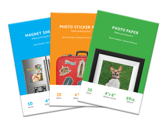 Photo paper, sticker printer page and magnet sheets packs