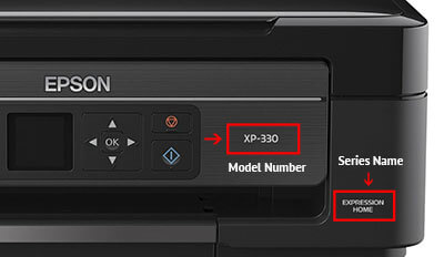 How to find printer model on Epson Expression series