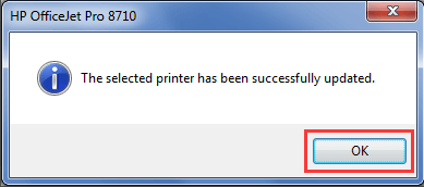 Printer has been successfully updated notification