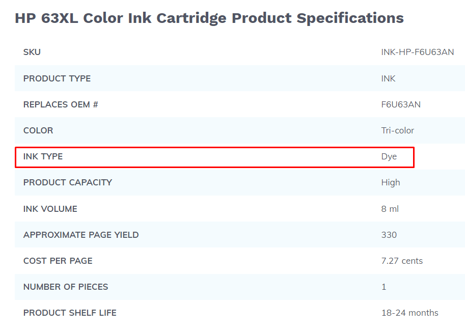 Hp 63xl color ink cartridge product specification