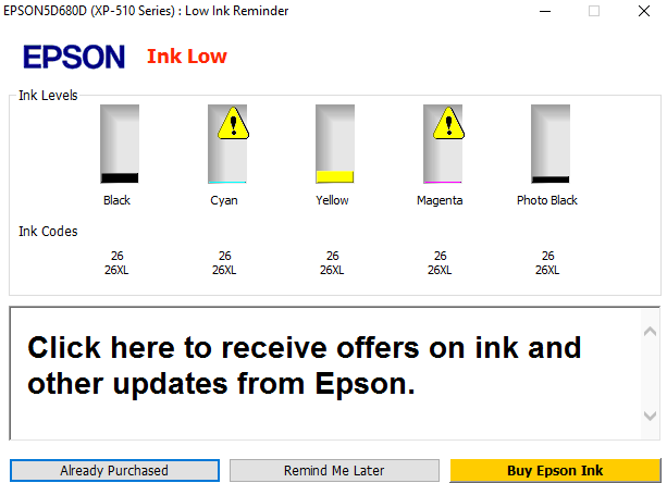 What to do with a low ink warning?